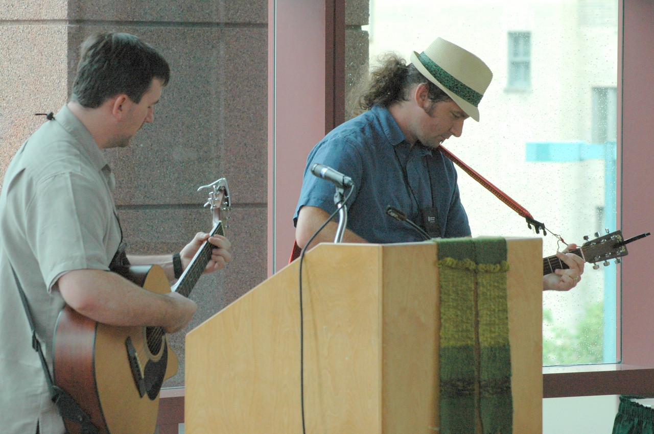 The Rev. Chris Gaule and fellow musician, the Rev. DJ Rasner lead Young Rostered Leaders' song.