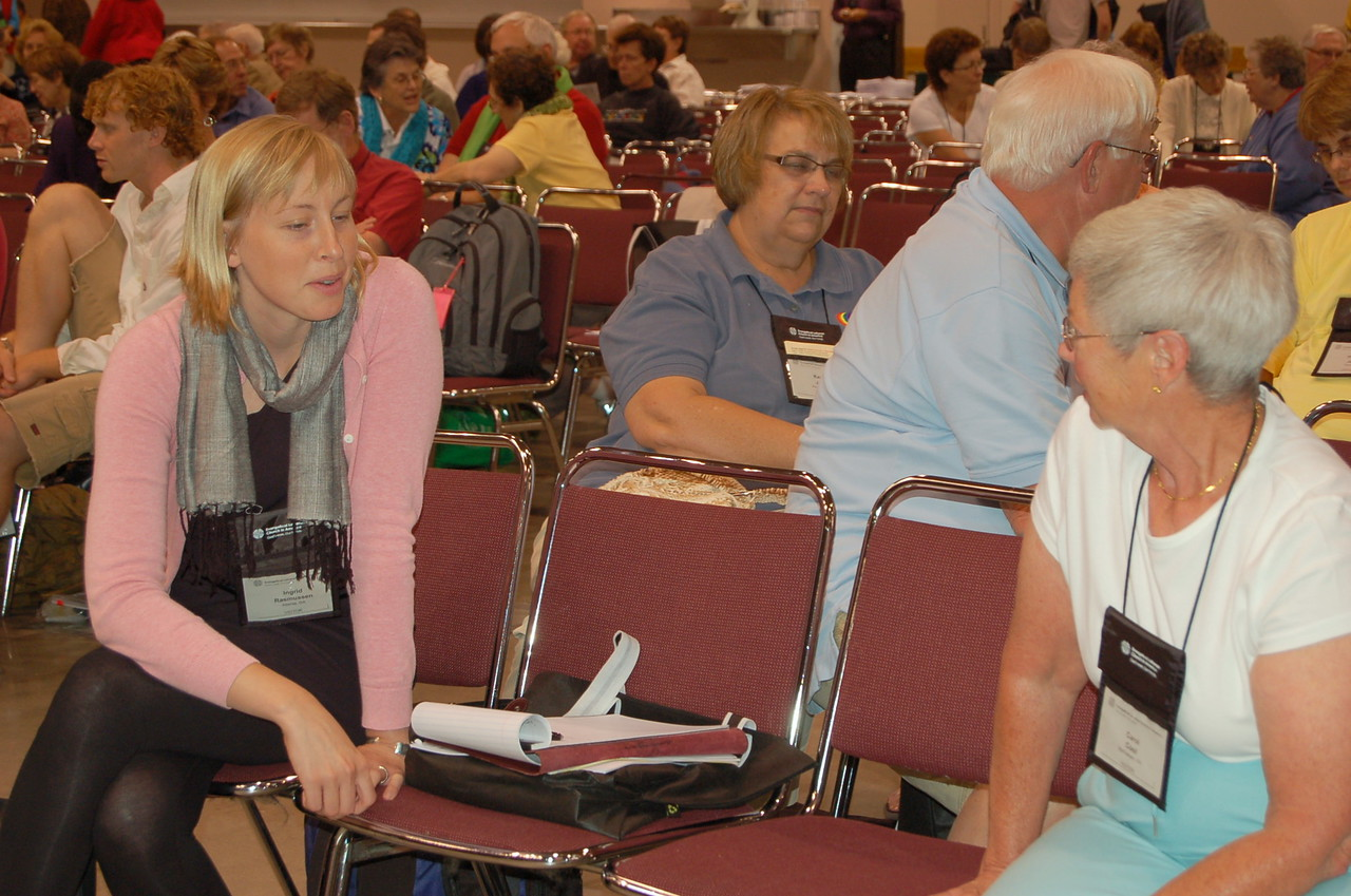 Visitors to the assembly also enjoy the Bible studies small group discussions.