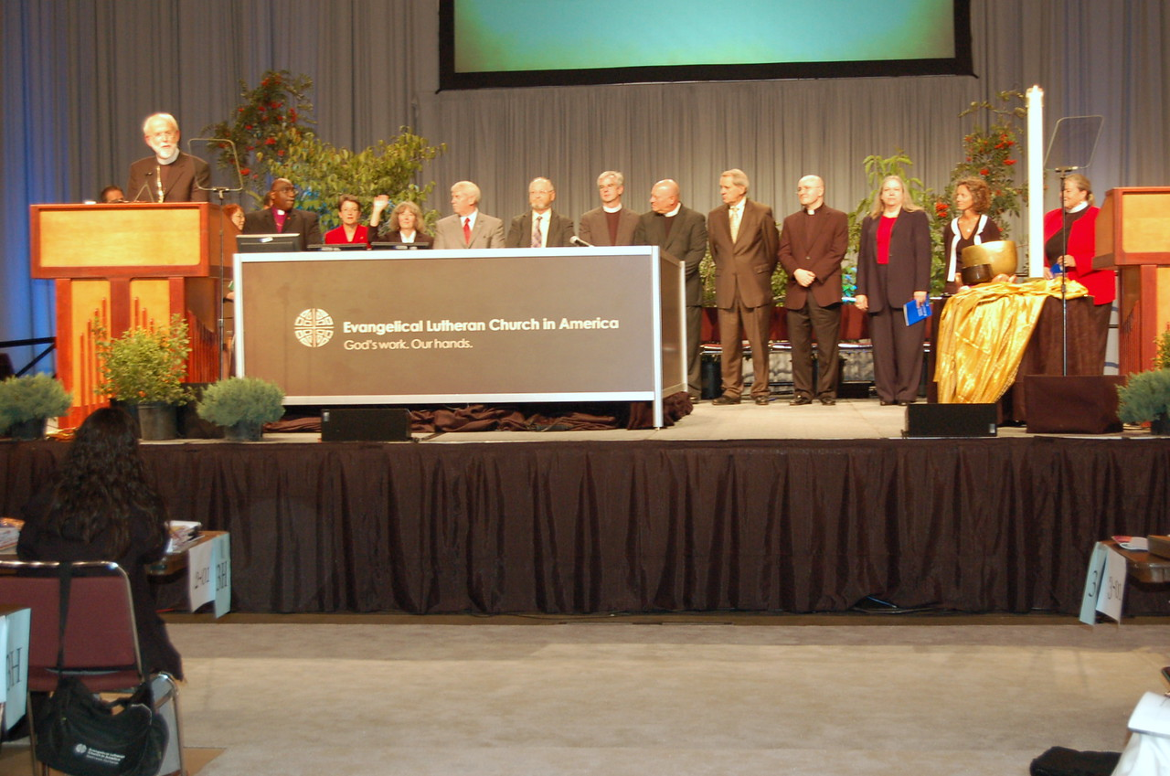 Ecumenical guests introduced by Presiding Bishop Mark Hanson.
