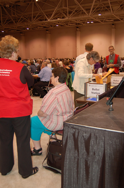 The ballot station for the election of ELCA Vice-President.