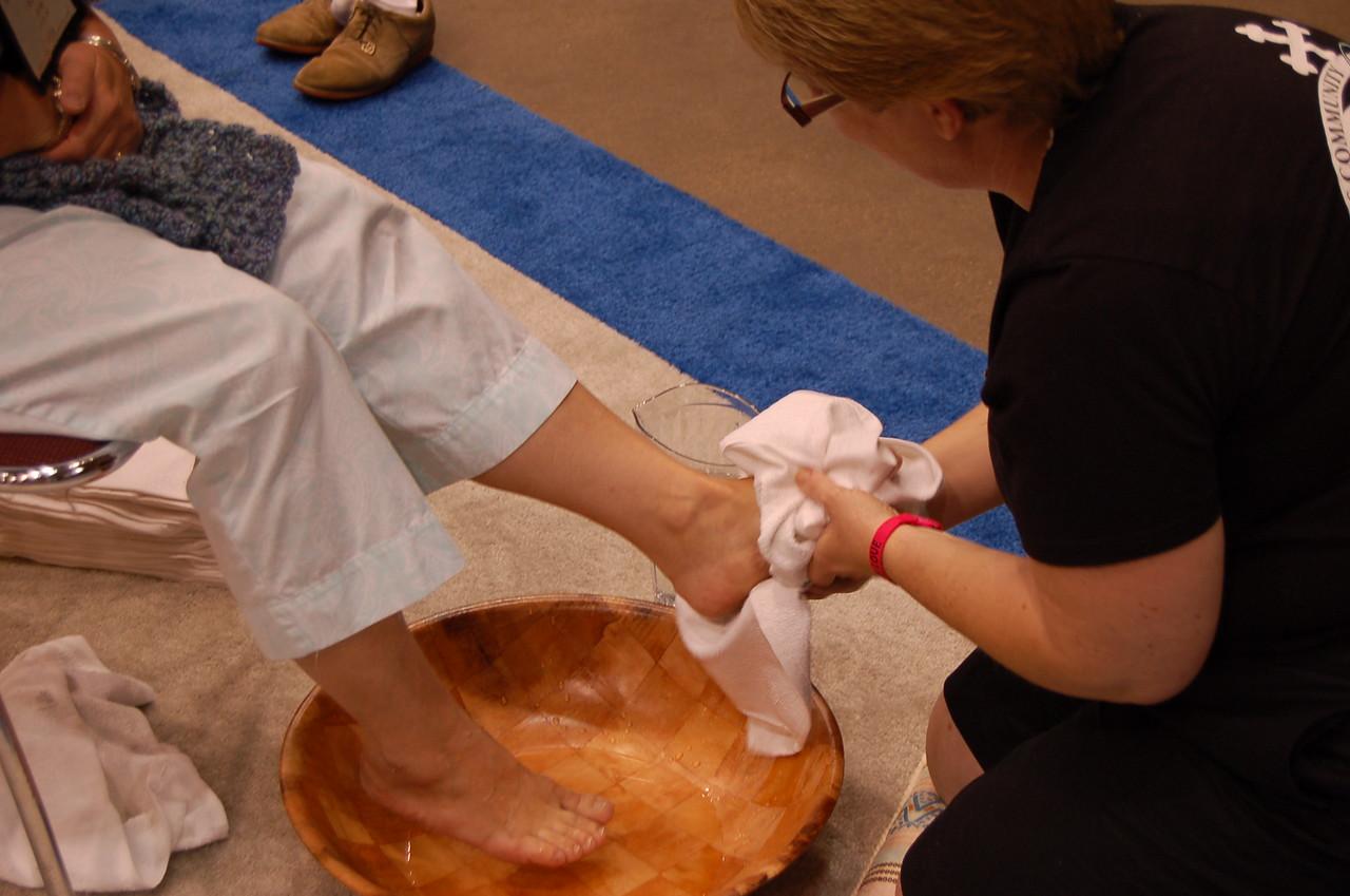 Foot washing at Thursday's worship service.