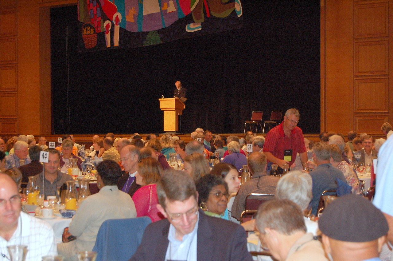 Presiding Bishop Mark Hanson instructs the voting members of the agenda for the quasi-committee of the whole.