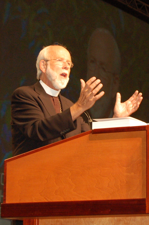 Presiding Bishop Mark S. Hanson during plenary session two.]
