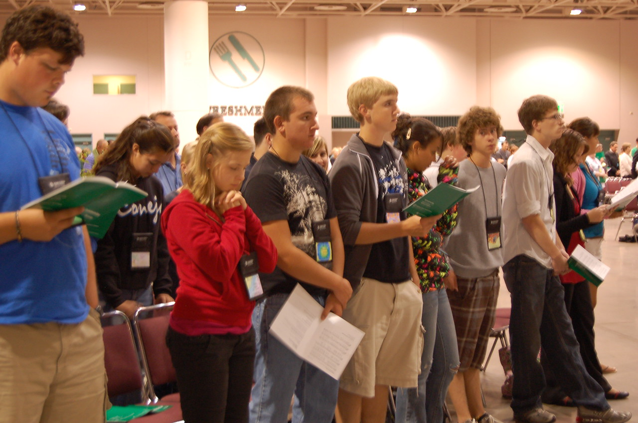Lutheran youth participate in the worship service.
