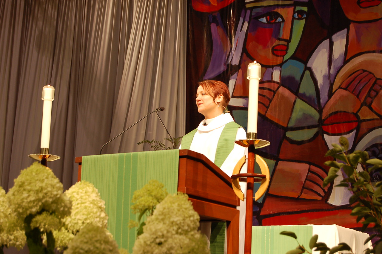 Pr. Megan Torgerson, St. Paul, Minn. preached about the value of justice to the gathered participants in Tuesday's worship service.