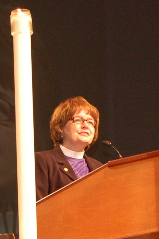 Pr. Andrea DeGroot-Nesdahl, coordinator, Lutheran Malaria Initiative address the assembly.