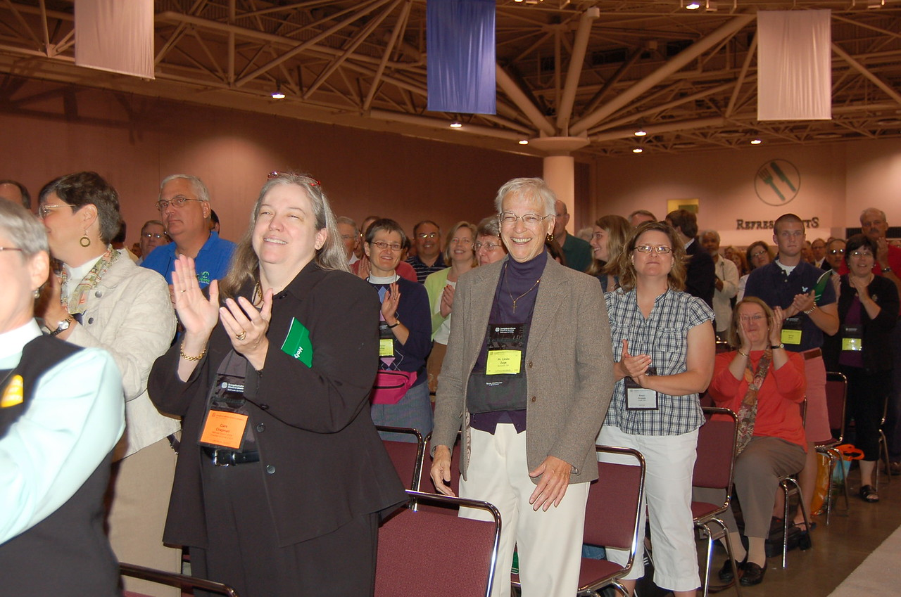 Assembly participants enjoy the lively worship music.