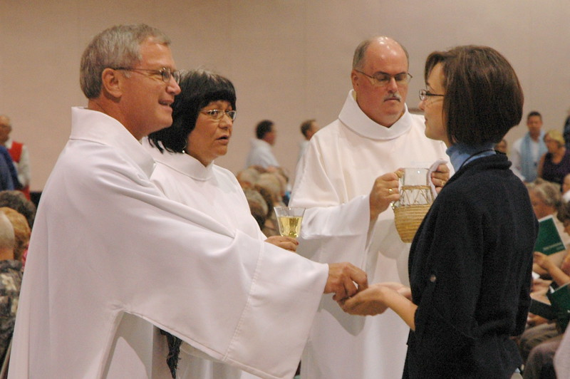 Holy Communion during Tuesday's worship.