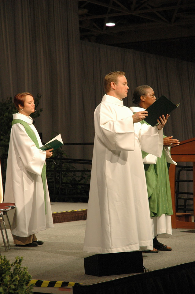Worship opened with a chanted confession with procession to the font.
