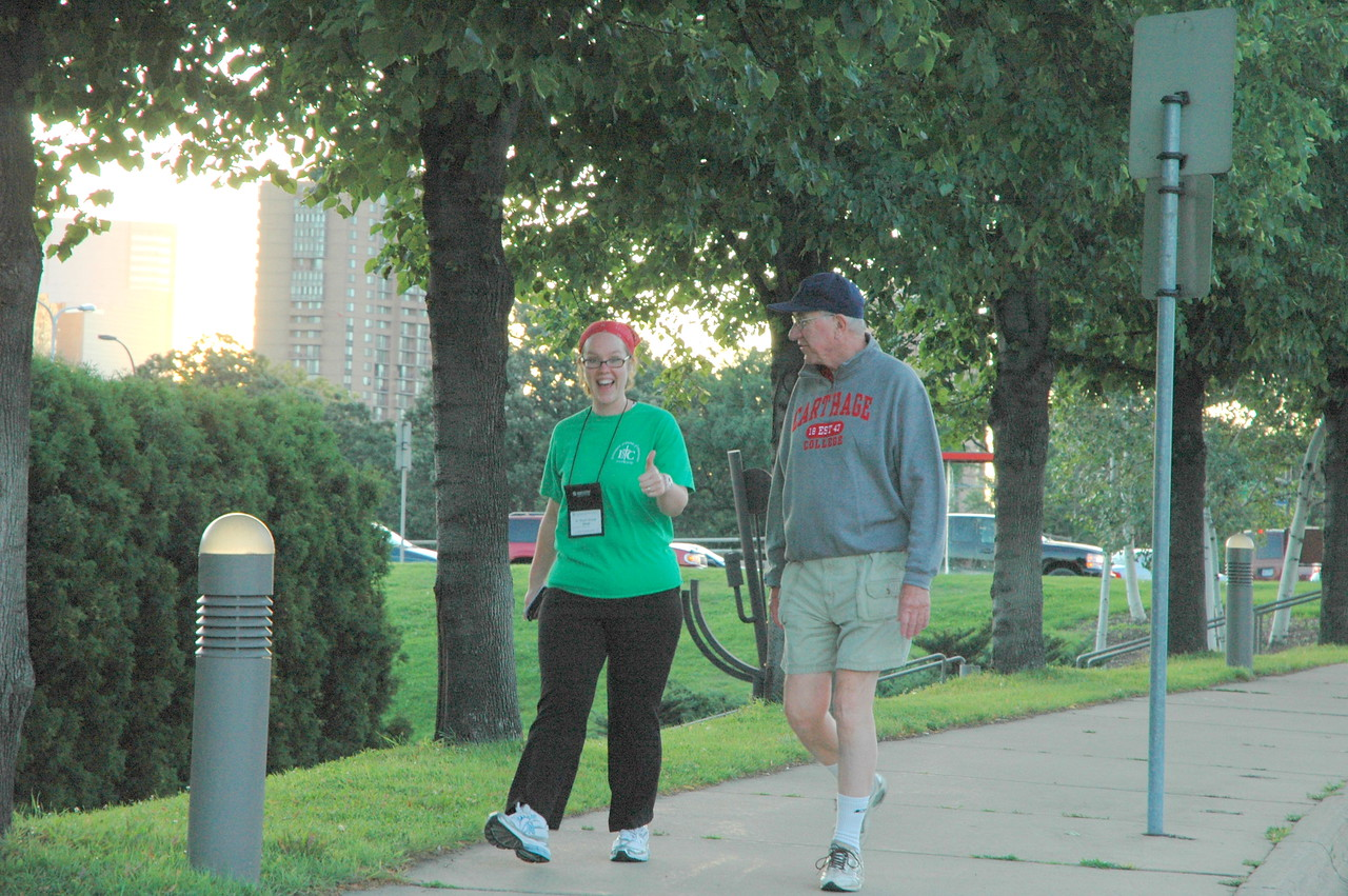 Pr. Phyllis Smoot shows her enthusiasm as she walks and rolls through the streets of downtown Minneapolis.