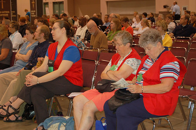 Volunteers and guests listening to the plenary.