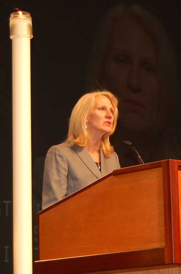 Cynthia Halverson, executive director, ELCA Development Services, speaks to the assembly regarding the Lutheran Malaria Initiative.