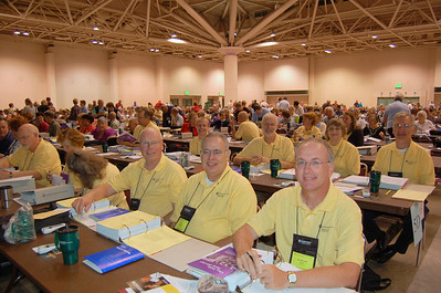 Bishop Michael Burk (first row right) and the other voting members of the Southeastern Iowa Synod.