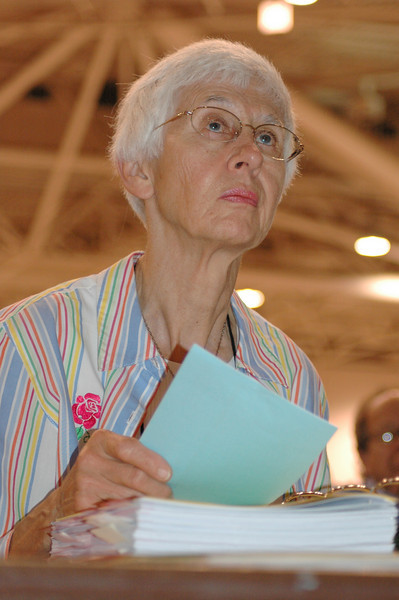 Maxine Enfield, Stillwater, MN listens to Bishop Hanson report on the process for election of the Vice President.
