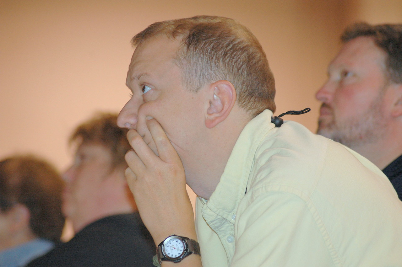 Voting member engaged in the Bible study during Plenary 5.