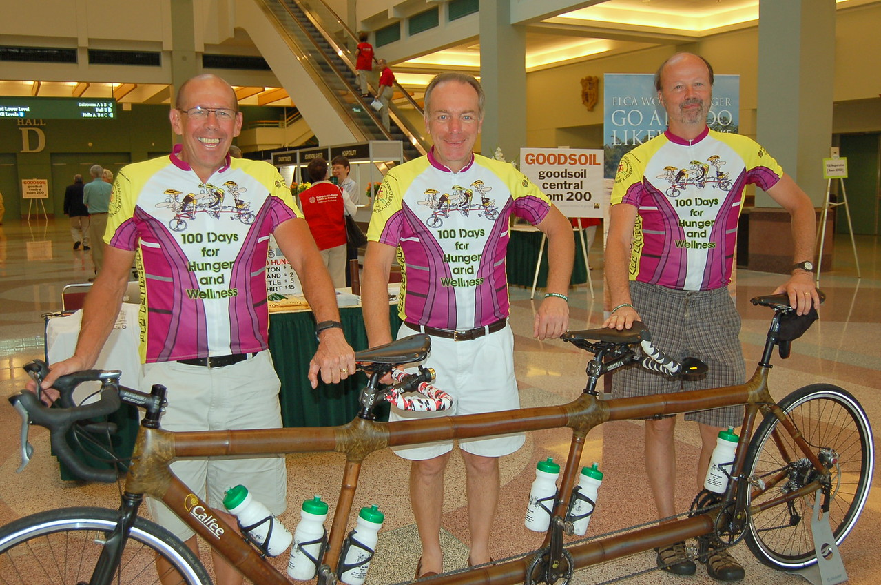Tour de Revs rode their bamboo bicycle around the ELCA for 100 days for hunger and wellness.