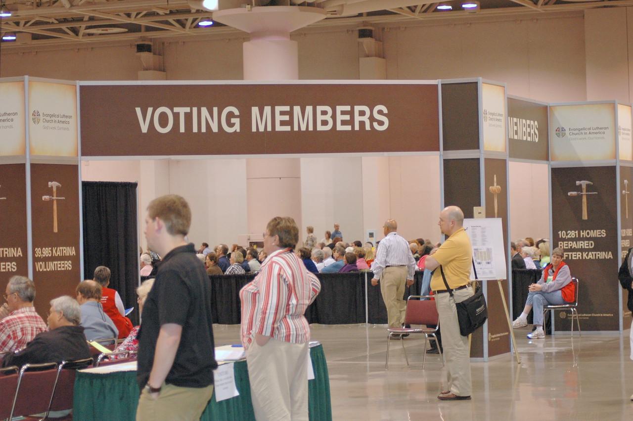 Voting member entrance to plenary hall.