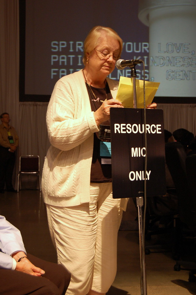 Judith Anne Bunker, Church Council Member, leads the assembly in prayer prior to the voting of the social statement.