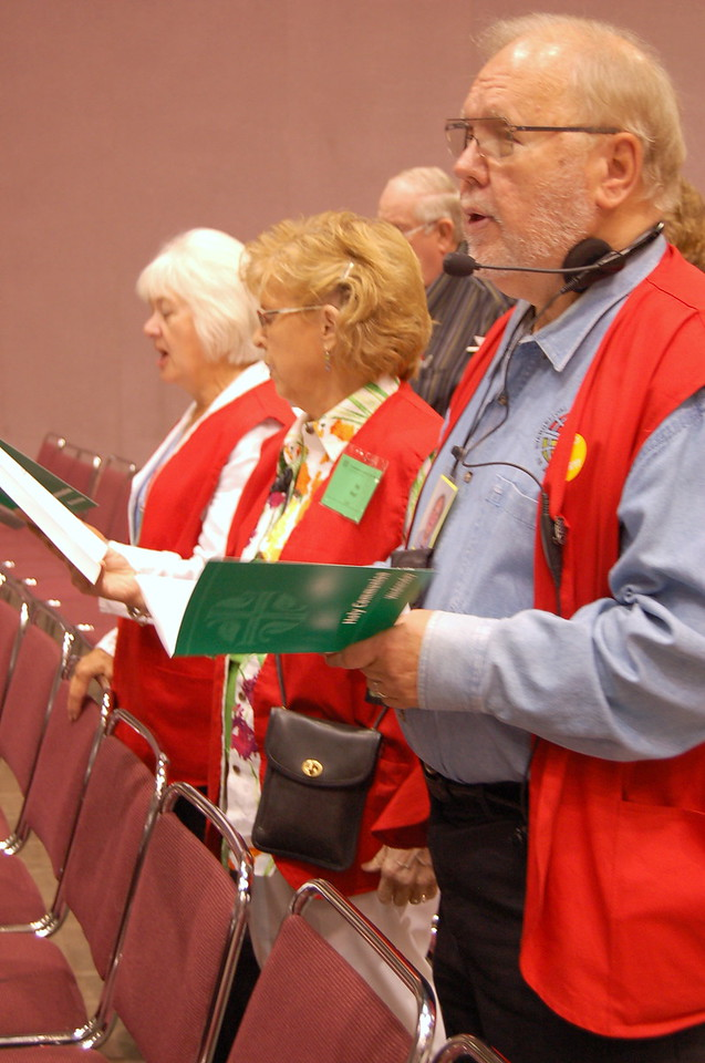 Volunteers singing the opening hymn of the worship service.