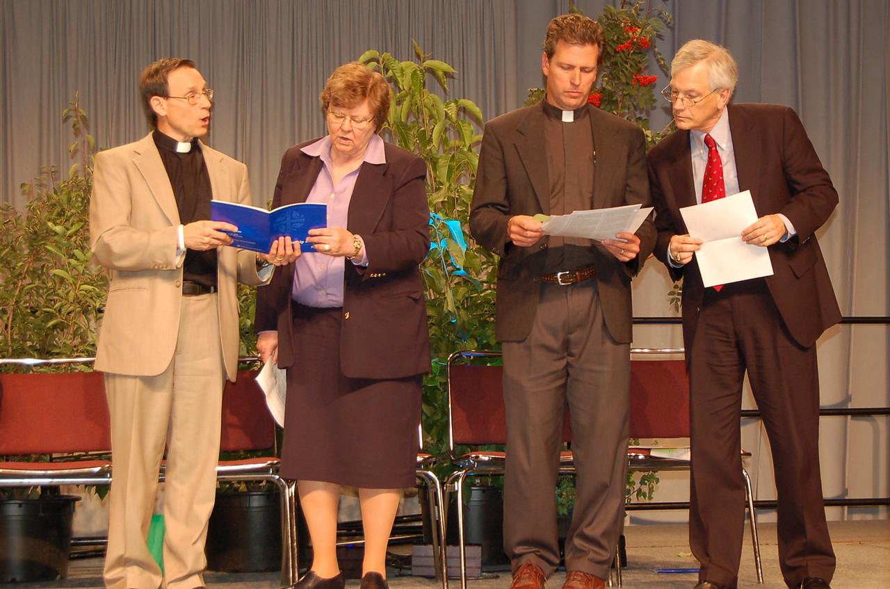 The Rev. Roger Willer, director for studies, ELCA Church in Society Unit; Norma Hirsch, Church Council member, Pr. Steve Loy, chair, Ad Hoc Committee; David Swartling, ELCA Secretary