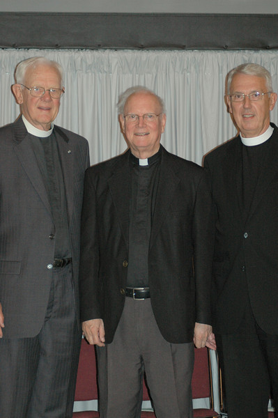 Former ELCA presiding bishop Herbert Chilstrom, former ELCA presiding bishop H. George Anderson and former secretary, Lowell Almen.