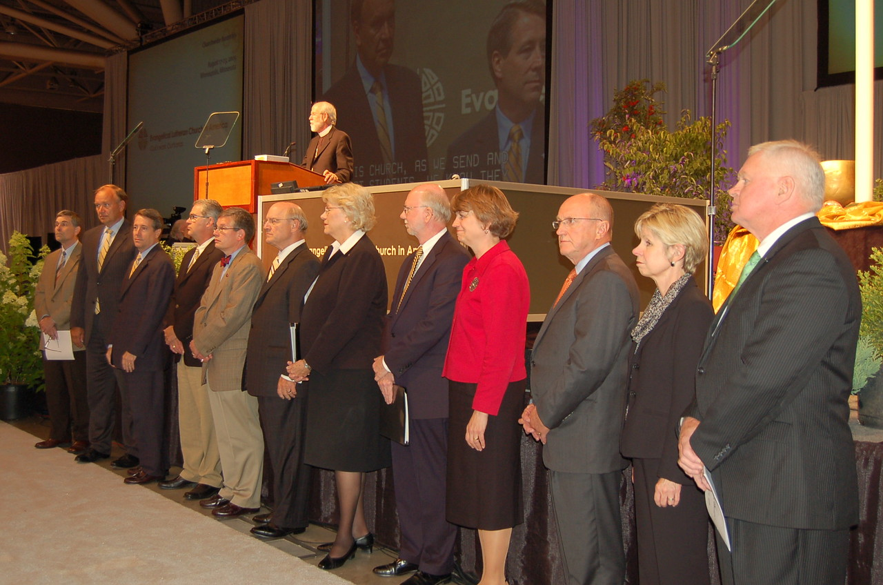 Presidents from twelve of the ELCA Lutheran colleges and universities are introduced to the 2009 Churchwide Assembly.