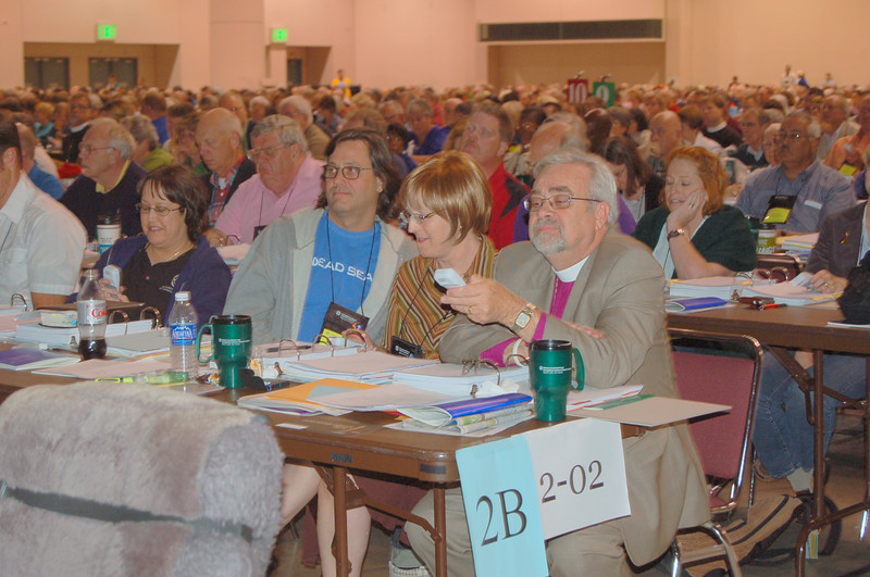 Members use their handheld electronic devices to vote on the proposed social statement.