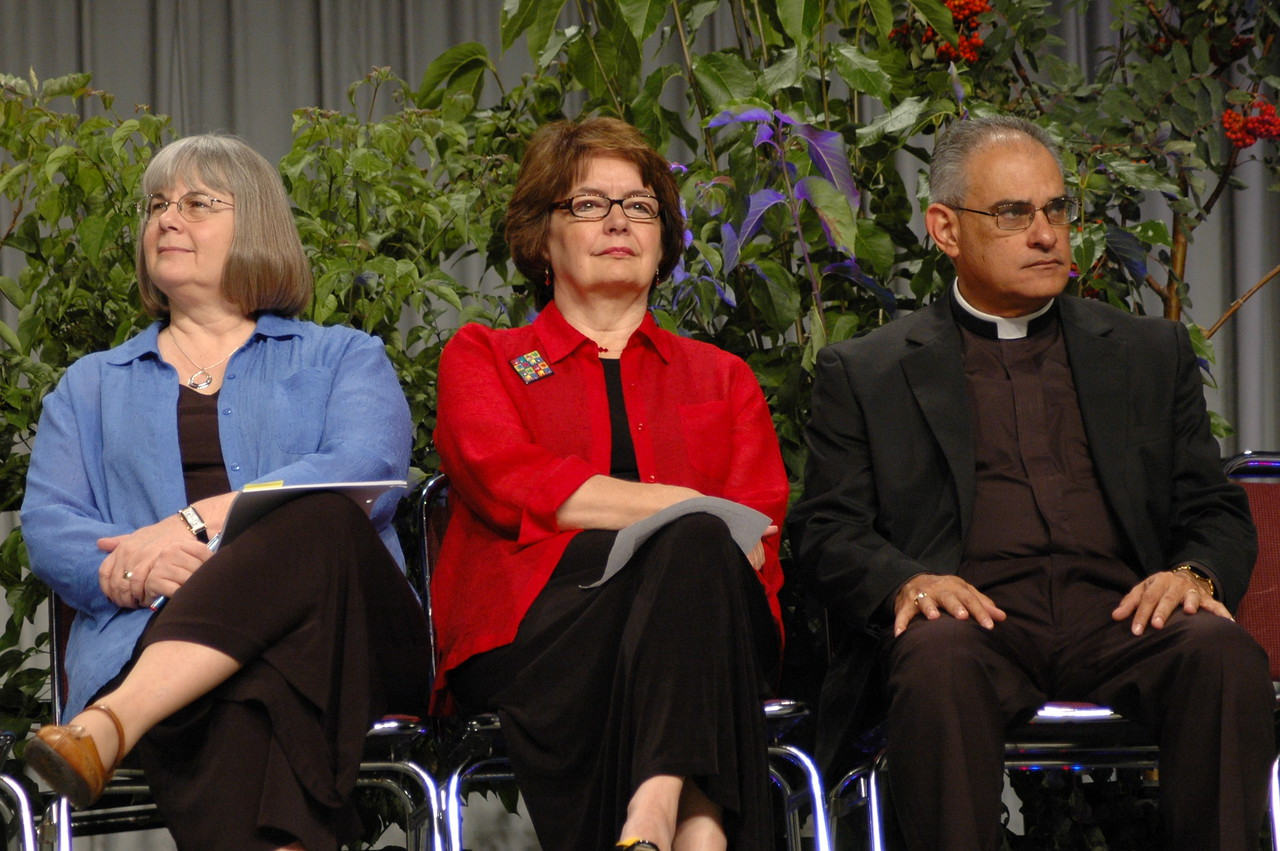 The Rev. Rebecca Larson, executive director, Church in Society, the Rev. Andrea DeGroot-Nesdahl, coordinator for the Lutheran Malaria Initiative, and the Rev. Rafael Malpica Padilla, executive director, Global Mission