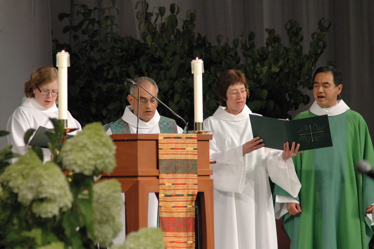 Pr. Jennifer Ollikainen, Pr. Rafael Mapica-Padilla (Preacher), Sr. Virginia Strahan (Assisting Minister) and Pr. Lit-Inn Wu (Presiding Minister)