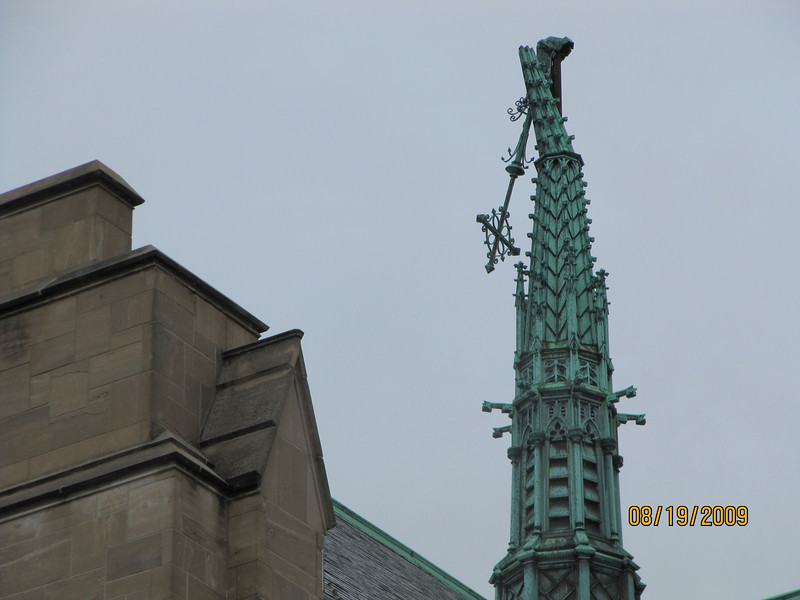 The steeple of Central Lutheran Church in Minneapolis -- across the street from the convention center -- had its steeple severely damaged by the tornado.
