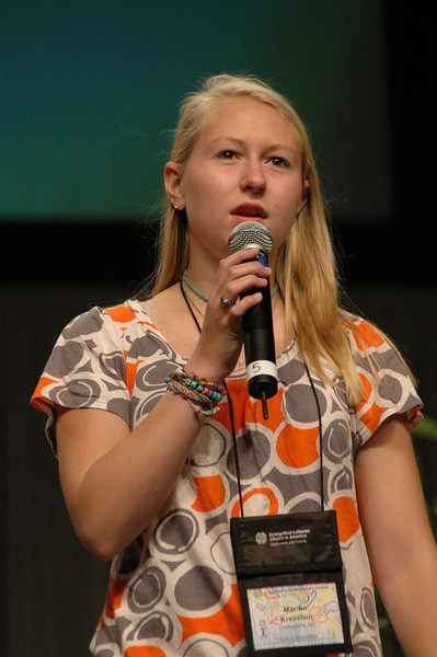 Marion Kresslein, representative from the Youth Convocation.