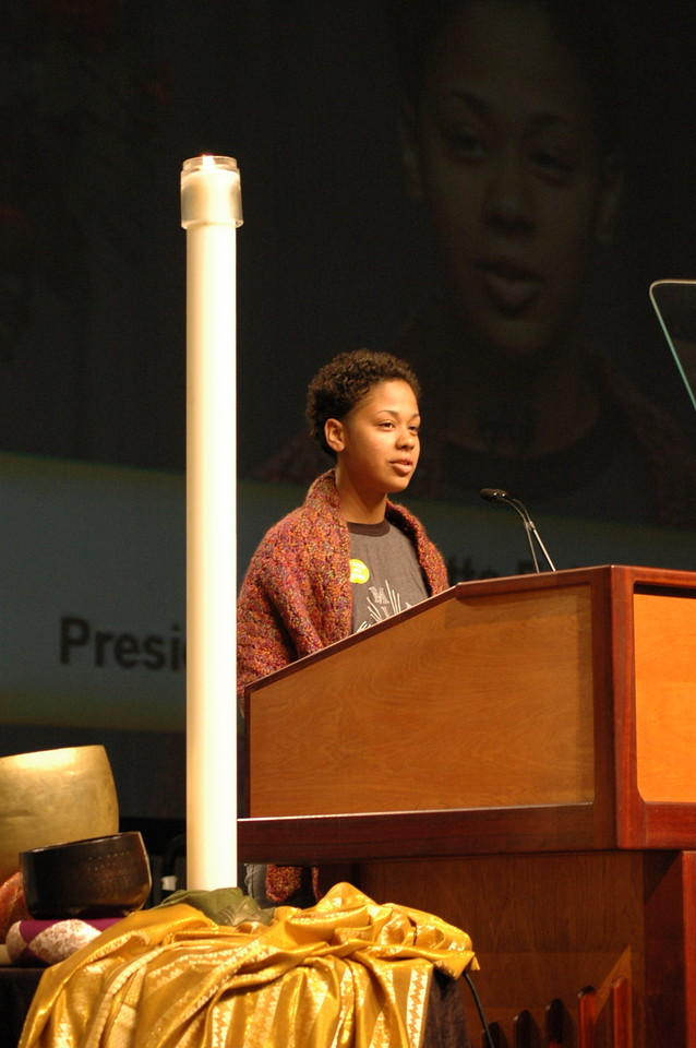 Nicolette Faison, LYO President, greets the Assembly. Nicolette is from Elmont, New York.