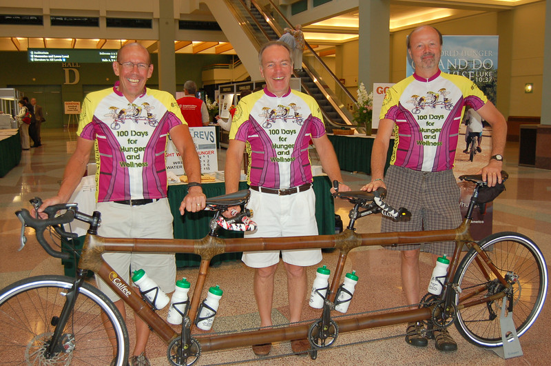 Tour de Revs rode their bamboo bicycle through all 65 synods in 100 days for hunger and wellness.