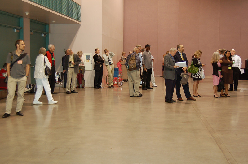 Assembly participants wait patiently inside the hall during a tornado warning on Wednesday.