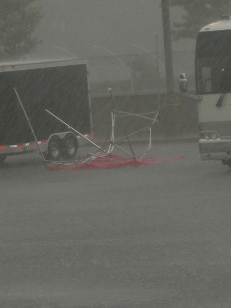 A tent from Central Lutheran was blown across the street into a parking lot.