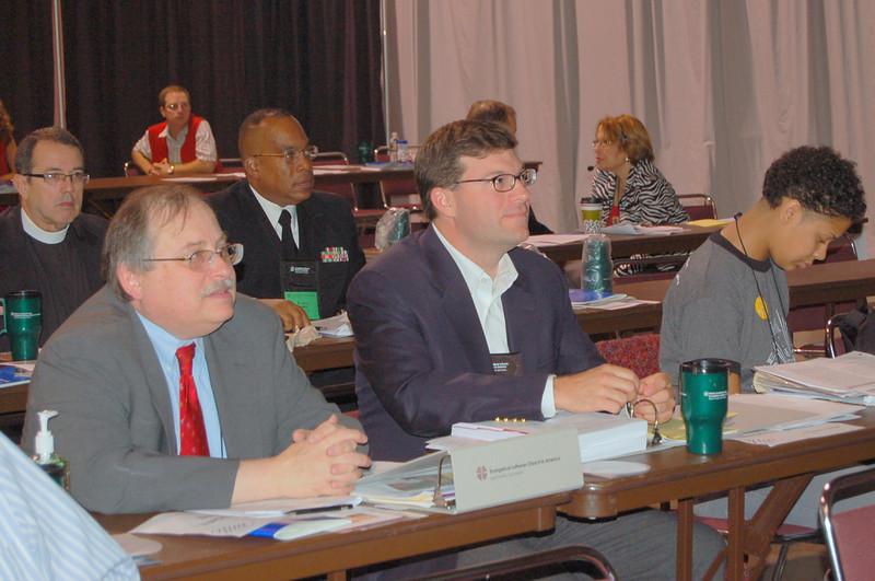 (left to right) Dennis Frado, director, Lutheran Office for World Community; Rev. Andrew Genszler, director, ELCA Washington Office; Nicolette Faison, president, Lutheran Youth Organization.