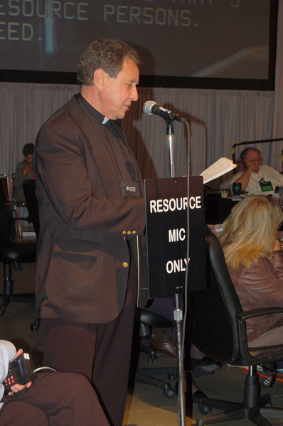 The Rev. Donald McCoid, executive, ELCA Ecumenical and Inter-Religious Relations, answers a voting member's question.