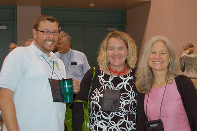 Christopher Carpenter, associate director, ELCA World Hunger Program, Kristen Glass, director for Young Adult Ministry, and the Rev. Kim Beckmann, director for ministry leadership-candidacy and deployment waiting-out the tornado.