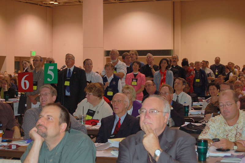 Assembly voting members line the aisle waiting for their turn to speak on the proposed Social Statement on Human Sexuality.
