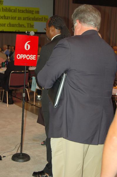 The Rev. Stephen Marsh, bishop, Southeast Michigan Synod, waits his turn at the mic.