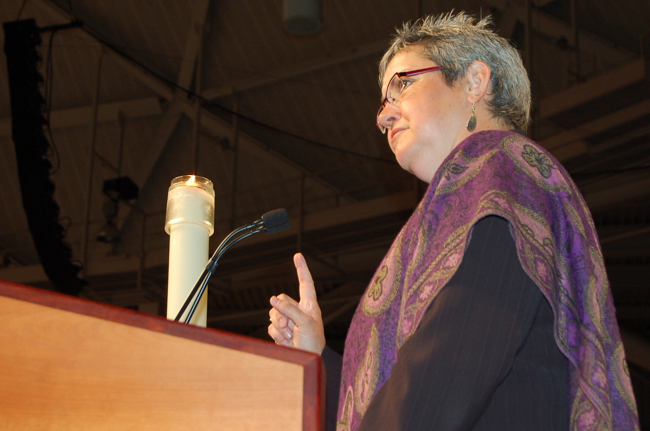 The Rev. Susan Johnson, presiding bishop, Evangelical Lutheran Church in Canda, brings greetings to the assembly.