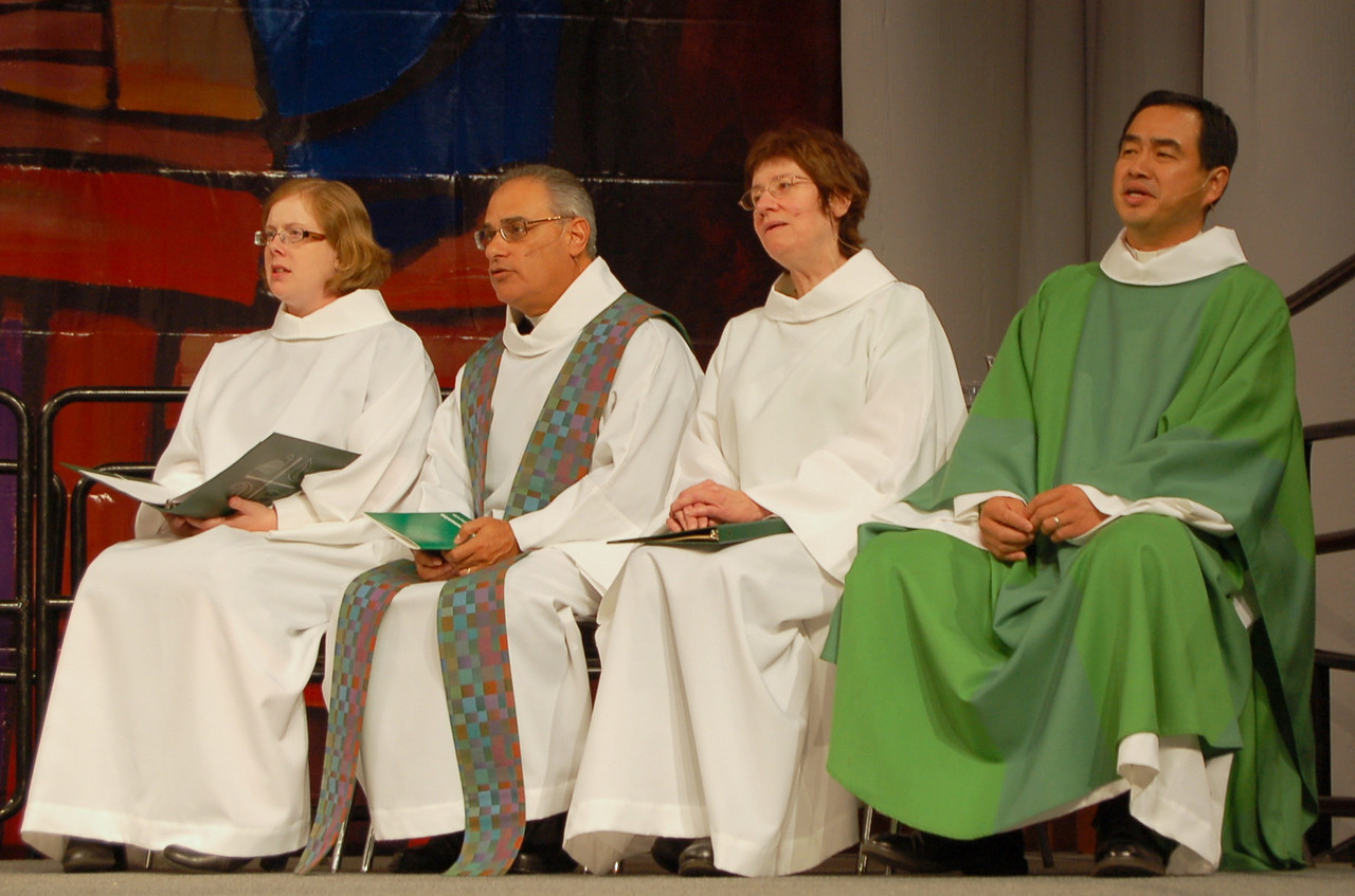 (left to right) The Rev. Jennifer Ollikainen, Associate for Worship Resources, Worship and Liturgical Resources; The Rev. Rafael Malpica-Padilla, preacher; Sr. Virginia Strahan, assisting minister; the Rev. Lit-Inn Wu, presiding minister