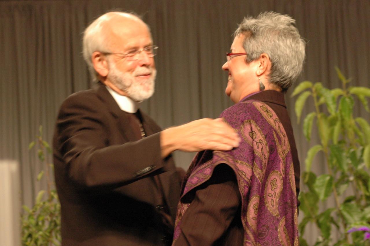 Presiding Bishop Mark S. Hanson welcomes Bishop Susan Johnson, Evangelical Lutheran Church in Canada.