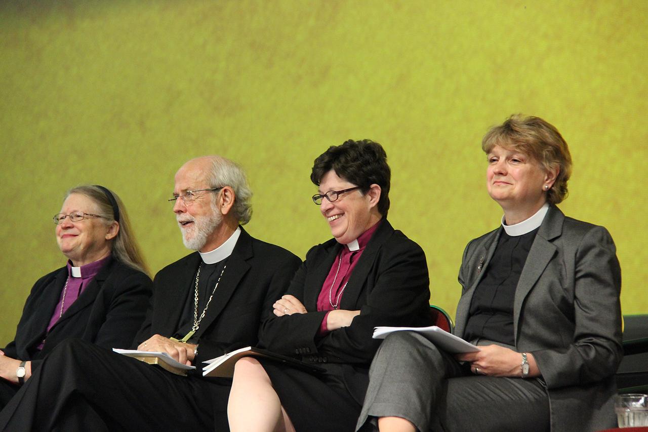 Bishop Jessica Crist, Presiding Bishop Mark Hanson, Bishop Elizabeth Eaton and Bishop Ann Svennungsen, nominees for presiding bishop, wait to respond to questions.