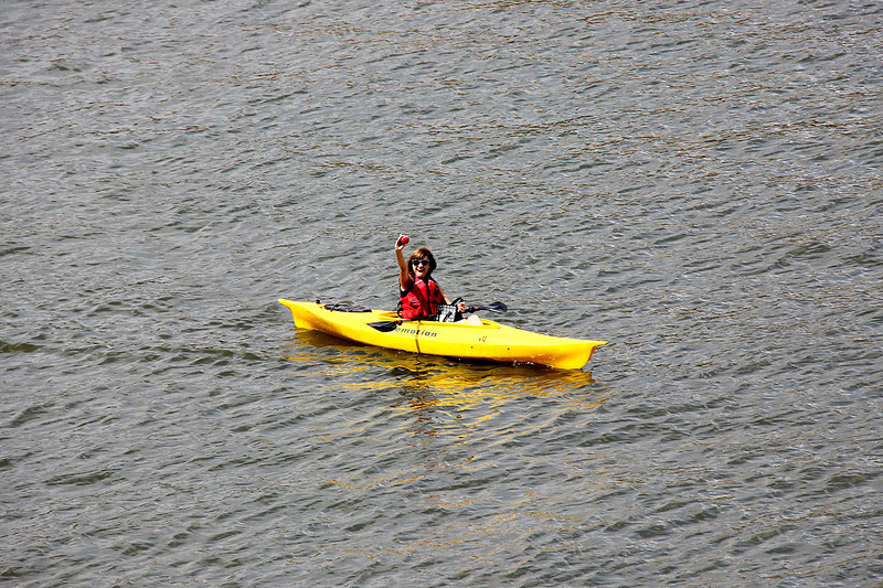 Churchwide staff members take a break and kayak on the Allegheny River. Pictured is Mary Beth Nowak.