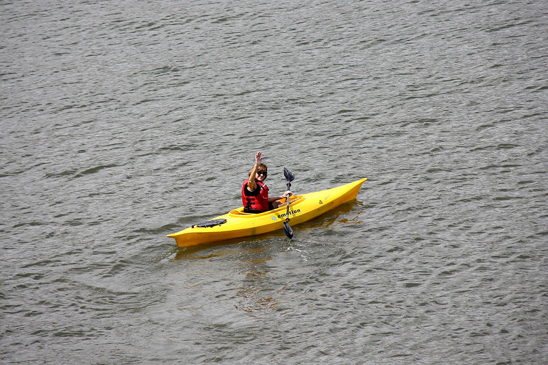 Assembly workers take a break to kayak on the Allegheny River. Pictured is Mary Beth Nowak.