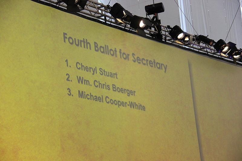 Voting members prepare to take the fourth vote for secretary.