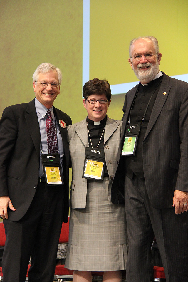 David Swartling, the Rev. Elizabeth A. Eaton, bishop-elect, and the Rev. Wm. Chris Boerger, secretary-elect, pause for a photo.