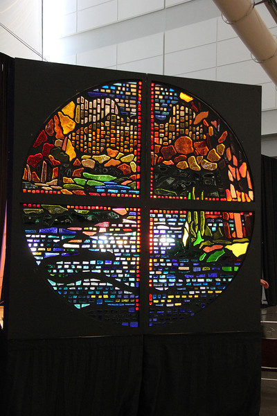 A stained glass window was created during the week of the Assembly.