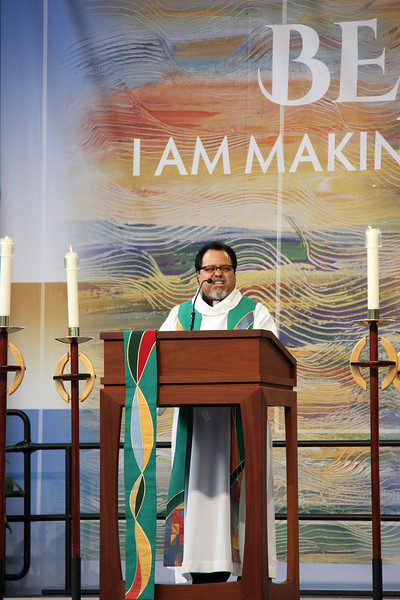 The Rev. Pedro Suarez shares the message during worship.